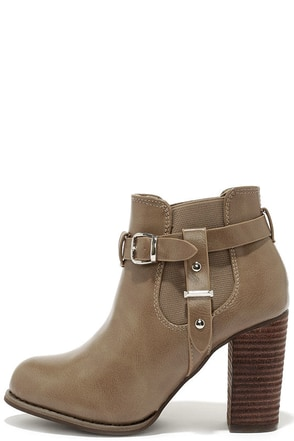 Buckle-ham Palace Taupe High Heel Booties at Lulus.com!