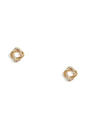 Thrown For a Loop Gold Rhinestone Earrings