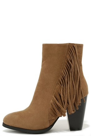 New Frontier Camel Brown Fringe Booties at Lulus.com!