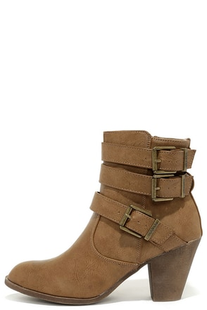 Wrapped Attention Taupe High Heel Ankle Boots at Lulus.com!