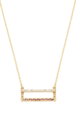 Double Team Gold Rhinestone Necklace