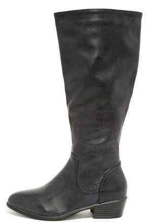 Sleek at the Knees Navy Blue Knee-High Boots at Lulus.com!