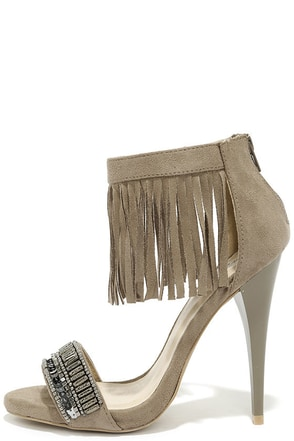Cool Collected Taupe Suede Beaded Fringe Heels at Lulus.com!