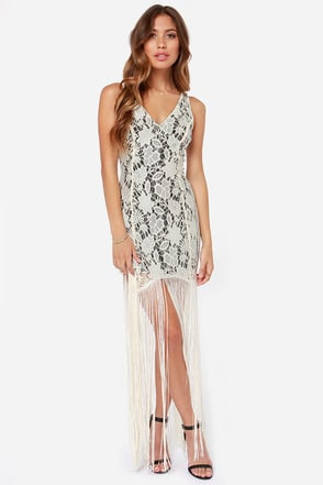 Gimme Shimmy Cream Lace Fringe Dress