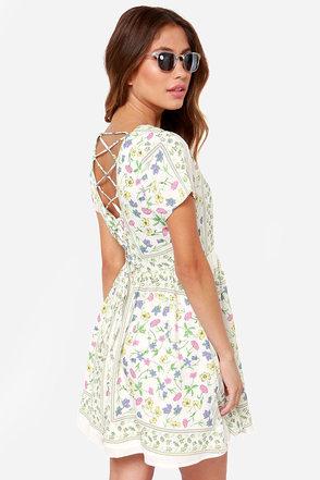 Cute Ivory Dress Floral Print Dress Short Sleeve Dress