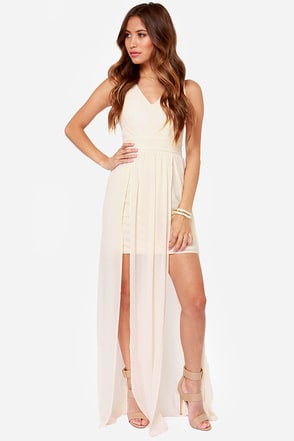 In Demand Cream Maxi Dress