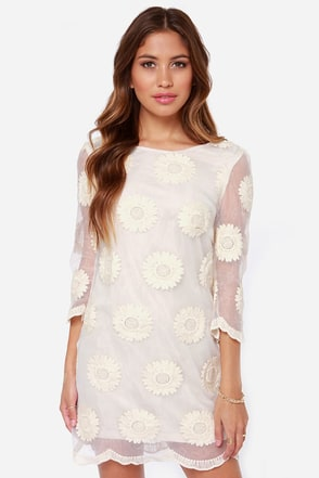 Organza Bonanza Embroidered Cream Dress