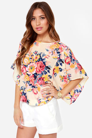 Farmers� Market Cream Floral Print Kimono Top at Lulus.com!