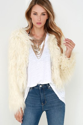 Glamorous Fur-Ever Yours Cream Faux Fur Jacket at Lulus.com!