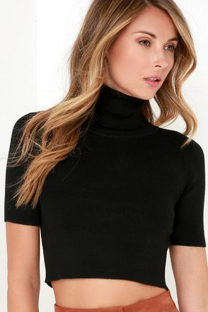 Glamorous Pep Right Up Black Turtleneck Crop Top at Lulus.com!