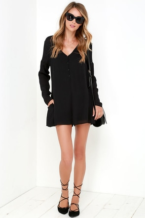Frolic in the Forest Black Long Sleeve Romper at Lulus.com!