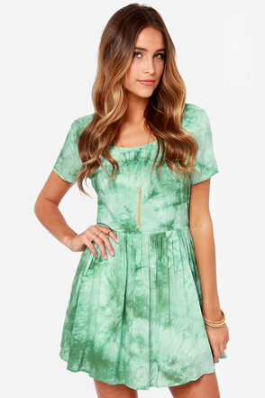 Psyche-delight Green Tie-Dye Dress