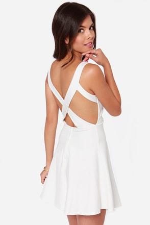 Flirty Ivory Dress Skater Dress Fit And Flare Dress