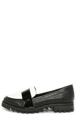 Report Signature Jerrie Black and White Penny Loafers at Lulus.com!