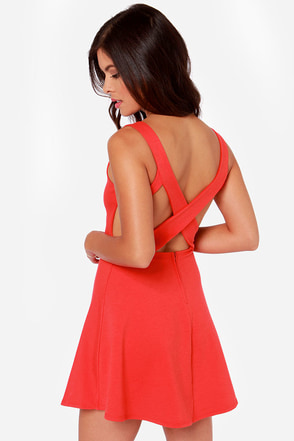 Flirty Red Dress Skater Dress Fit And Flare Dress 39 00