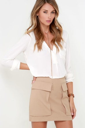 Ten-Hut Beige Mini Skirt at Lulus.com!