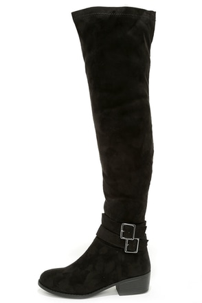 Ancient Cities Black Suede Over the Knee Boots at Lulus.com!