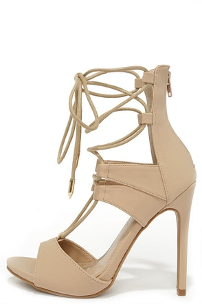 Fashion District Nude Nubuck Leg-Wrap Heels at Lulus.com!