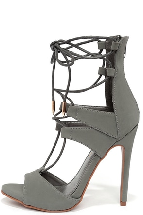 Fashion District Grey Nubuck Leg-Wrap Heels at Lulus.com!