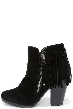 Fringe Factor Black Suede Fringe Booties at Lulus.com!