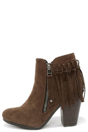 Fringe Factor Brown Suede Fringe Booties at Lulus.com!