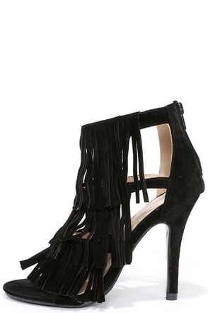 Any Excursion Black Suede Fringe Dress Sandals at Lulus.com!