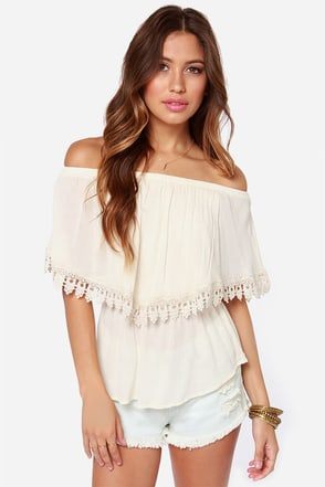 Dreamed a Dream Off-the-Shoulder Cream Lace Top