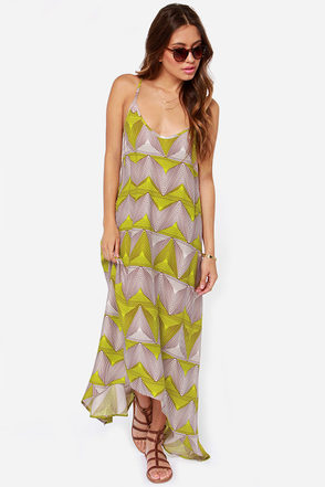 Billabong Day Beyond Lime Green Print Dress