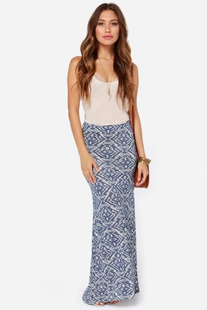 Billabong Back on Top Blue Southwest Print Maxi Skirt