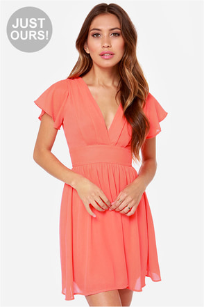 LULUS Exclusive Whatever You Sway Coral Dress