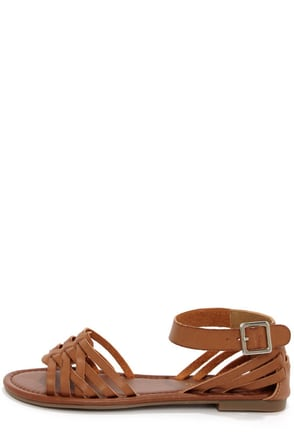 City Classified Jowl Tan Huarache Ankle Strap Sandals