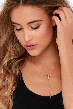 Round in Circles Gold Drop Necklace at Lulus.com!