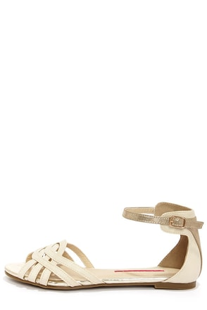C Label Lili 1 Nude and Gold Ankle Strap Sandals