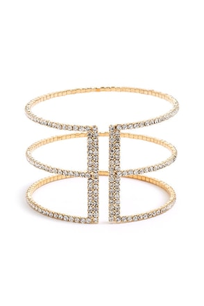 Bound by Beauty Gold Rhinestone Bracelet at Lulus.com!