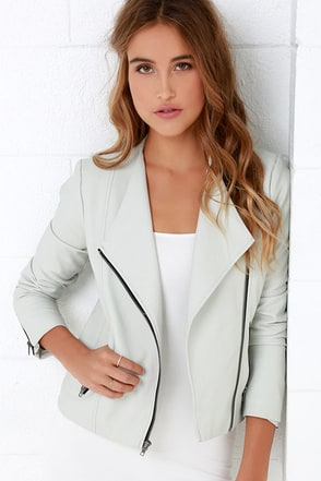 BB Dakota Rylan Light Grey Vegan Leather Jacket at Lulus.com!