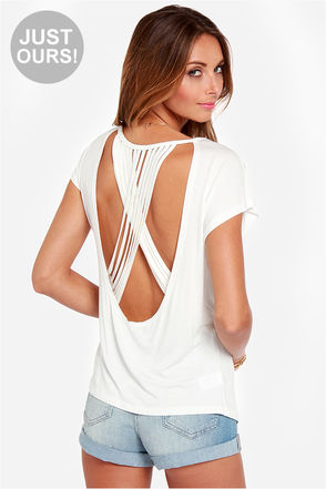 LULUS Exclusive Crisscross Awesome Sauce Ivory Top