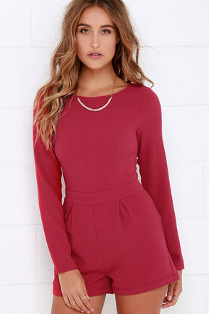 Game of Love Wine Red Romper at Lulus.com!