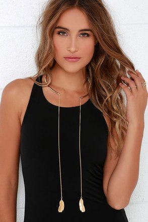 Techni-Collar World Gold Collar Necklace at Lulus.com!