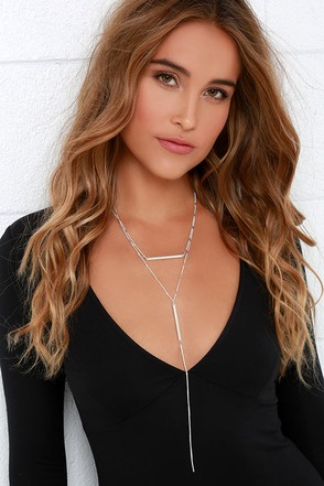 Up to Bar Silver Layered Necklace at Lulus.com!