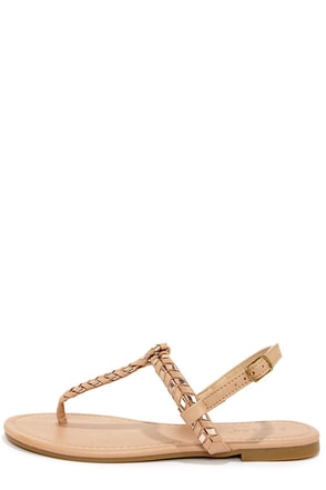 Bamboo Josalyn 06 Nude and Rose Gold Thong Sandals