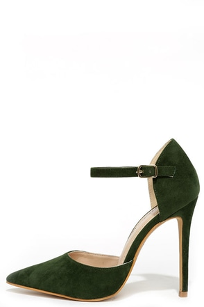 Got it Bad Olive Green Suede Ankle Strap Heels at Lulus.com!
