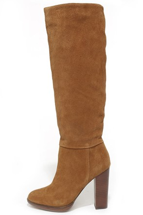 Report Signature Lannister Tan Suede Leather Knee-High Boots at Lulus.com!