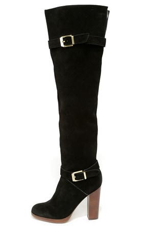 Report Signature Lipton Black Suede Leather Over the Knee Boots at Lulus.com!