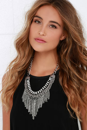 Date With A Knight Silver Rhinestone Statement Necklace at Lulus.com!