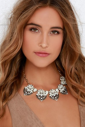 River Gem Gold and White Statement Necklace at Lulus.com!