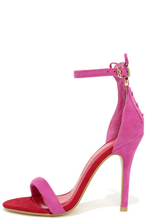 Chinese Laundry Jealous Suede Fuchsia Lace-Up Heels at Lulus.com!