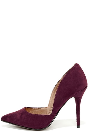 Chinese Laundry Stilo Eggplant Purple Suede D'Orsay Pumps at Lulus.com!