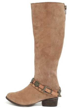 Coconuts Wichita Tan Suede Leather Knee High Boots at Lulus.com!