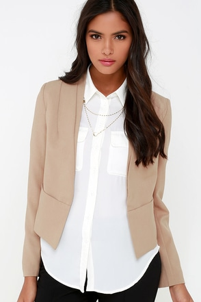 Business Trip Tan Cropped Blazer at Lulus.com!