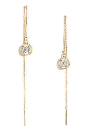 Never Been Threader Gold Rhinestone Threader Earrings at Lulus.com!